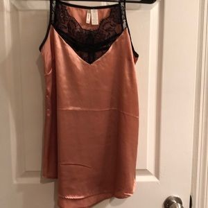 Silt satin tank with lace